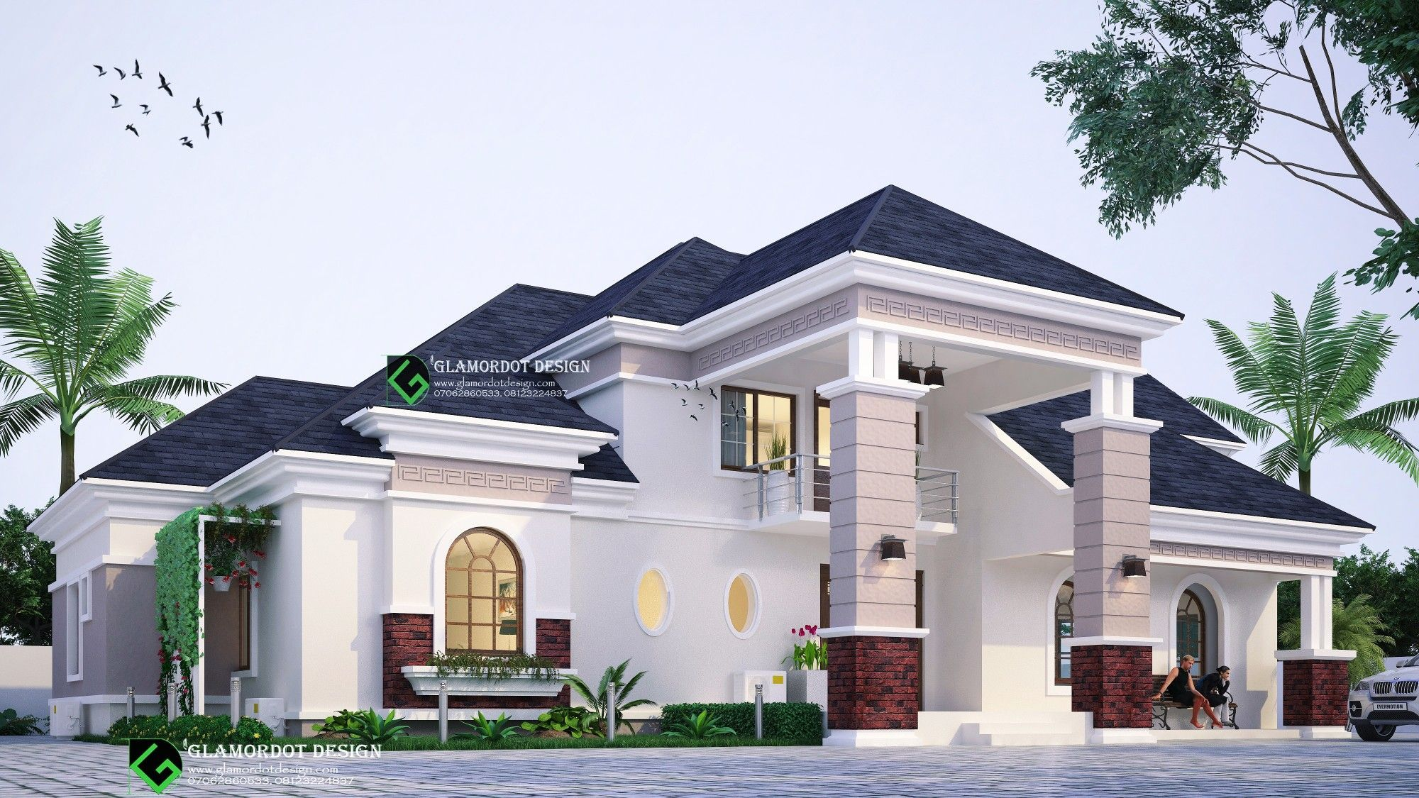 5 Bedroom Bungalow With A Penthouse Attic Space With 2 Balconies Located In Nigeria For Inqu Bungalow House Design House Outside Design House Plans Mansion