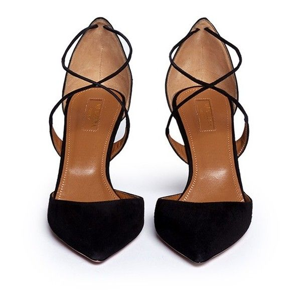Aquazzura 'Matilde' crisscross strap suede pumps (€630) ❤ liked on Polyvore featuring shoes, pumps, heels, sapatos, shoes - heels, aquazzura, suede pointed-toe pumps, aquazzura shoes, heel pump and suede pointy toe pumps