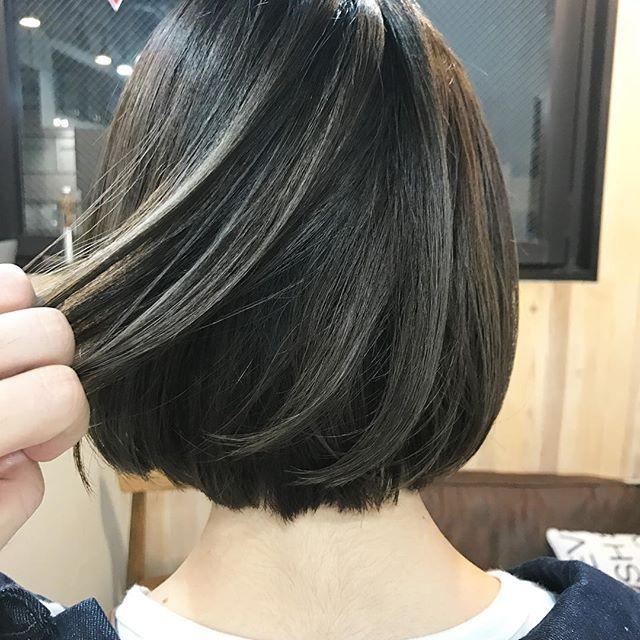 黒髪にメッシュカラー ロング ボブ ショート エクステやヘアチョーク