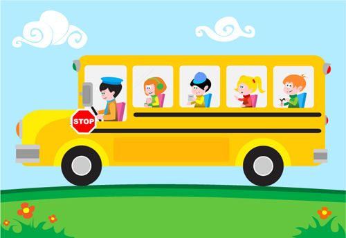 Kids With Bus Design Vector For Free Download With Images