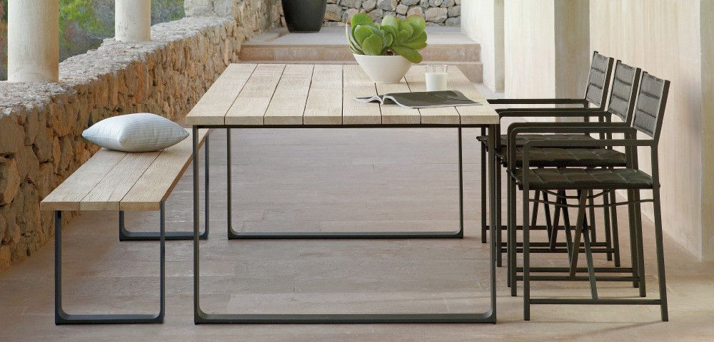 Furniture. Outstanding Wooden Outdoor Dining Bench With Rectangular Table  And Black Iron Side Chair Plus Stone Balustrade Design Ideas Choose  Materials That ...