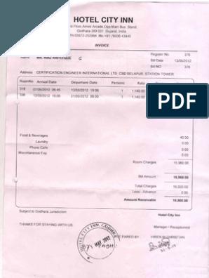 Hotel+Boarding+Bill in 2020 Invoice template word