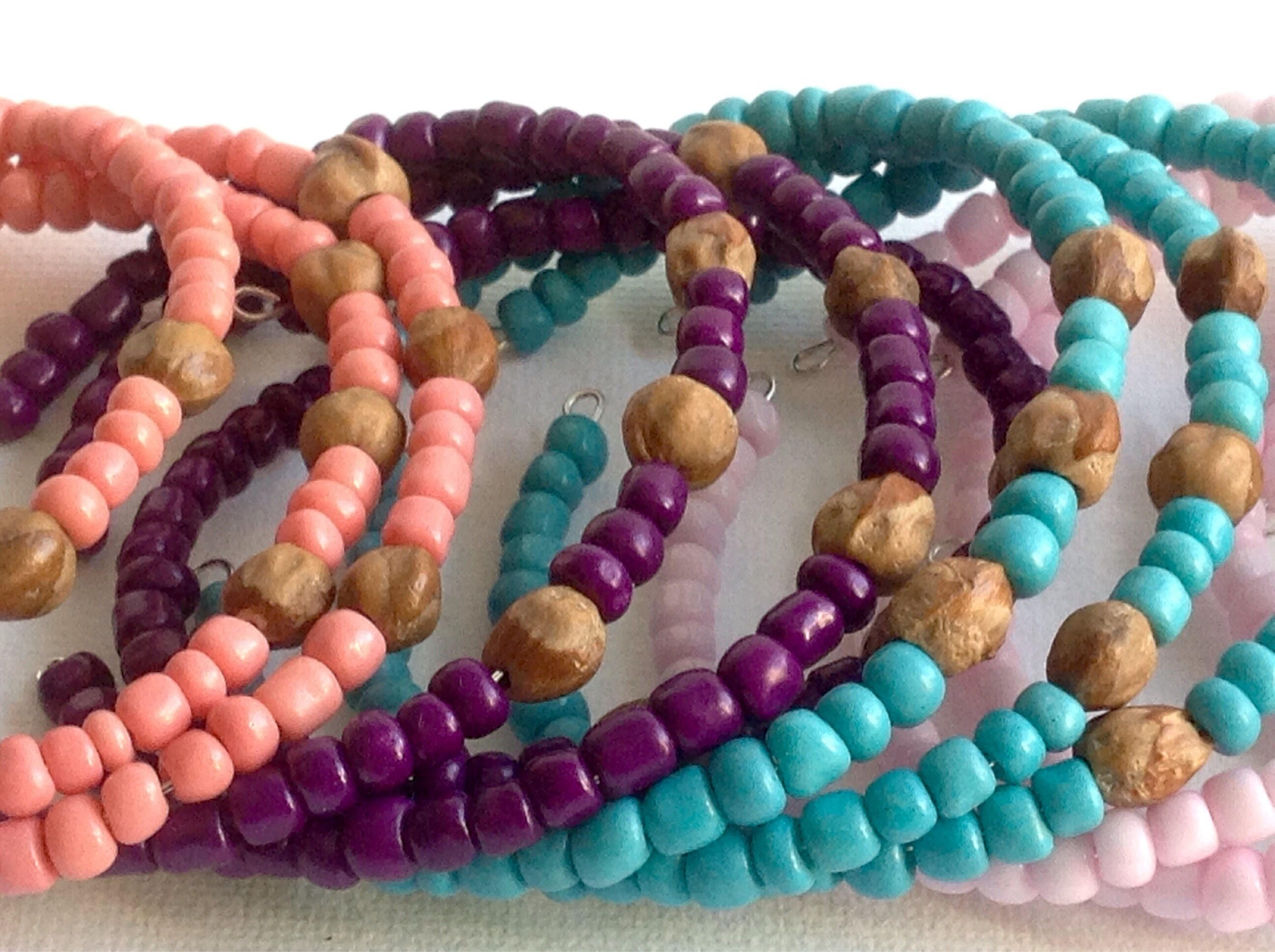 Purple and Pink Mexican Native Style Nylon Knotted Bracelet