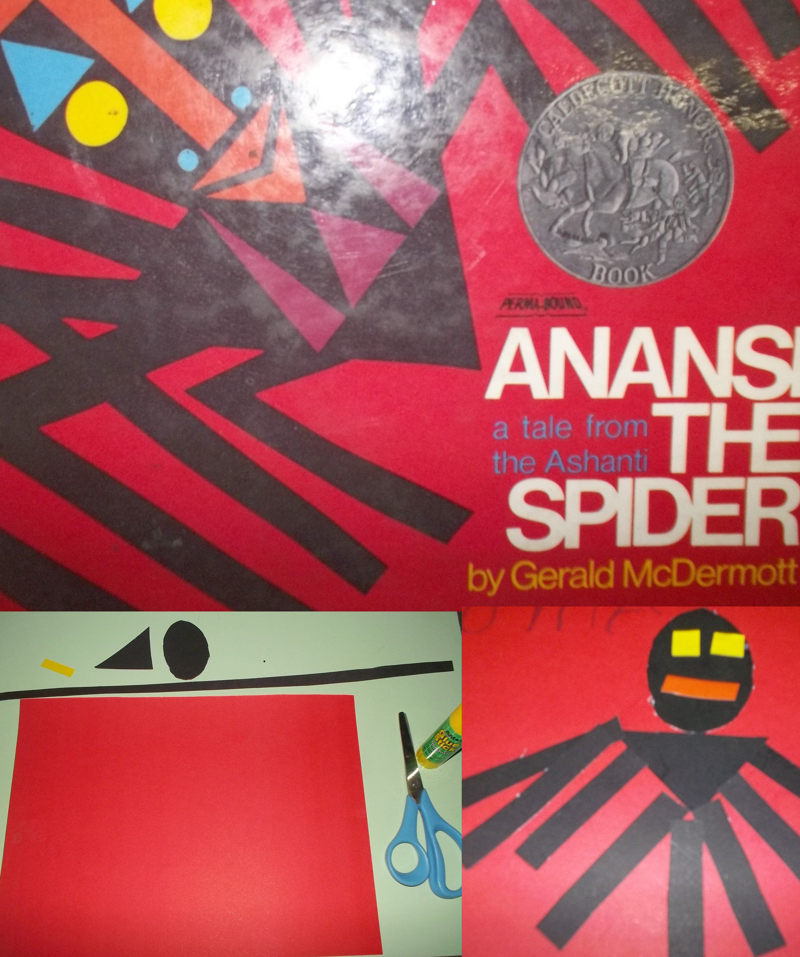 Anansi the spider. African story and spider craft: Red construction ...