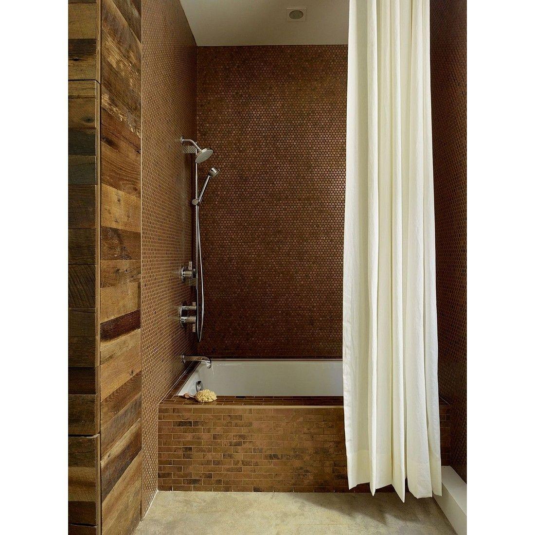 Copper Penny Tiles Create A Shinning Bathroom Walls Rumahkubathroom Bathroom Design Penny Tiles Bathroom Eclectic Bathroom