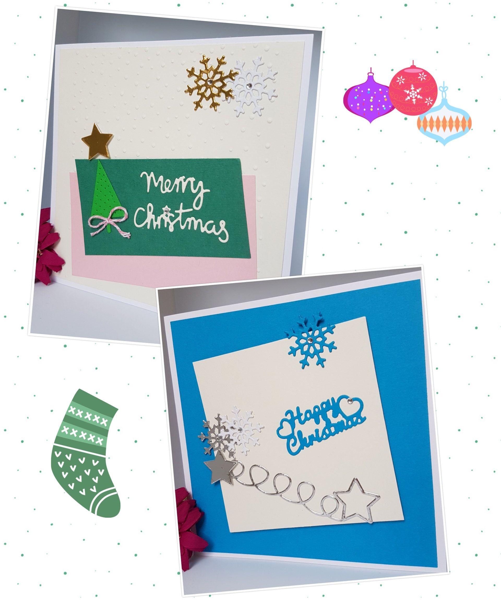 Contemporary Christmas Card Pastel Star Snowflake Tree Merry Happy ...