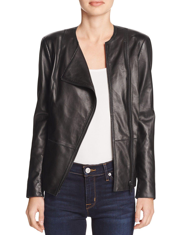 Elie Tahari Wilma Seamed Leather Jacket