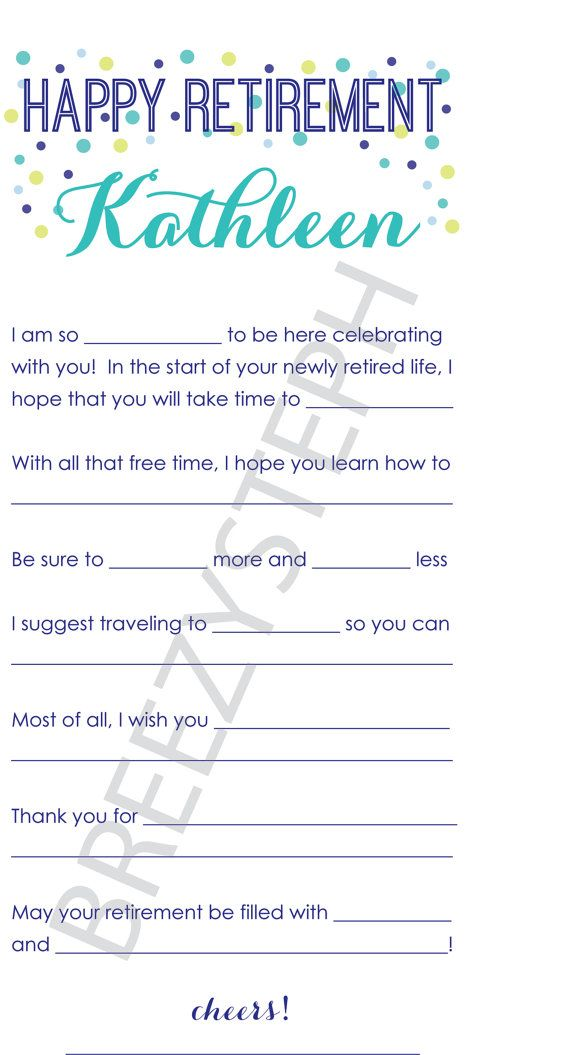 picture about Retirement Party Games Free Printable known as Satisfied Retirement Crazy Libs - Printable Custom made Retirement