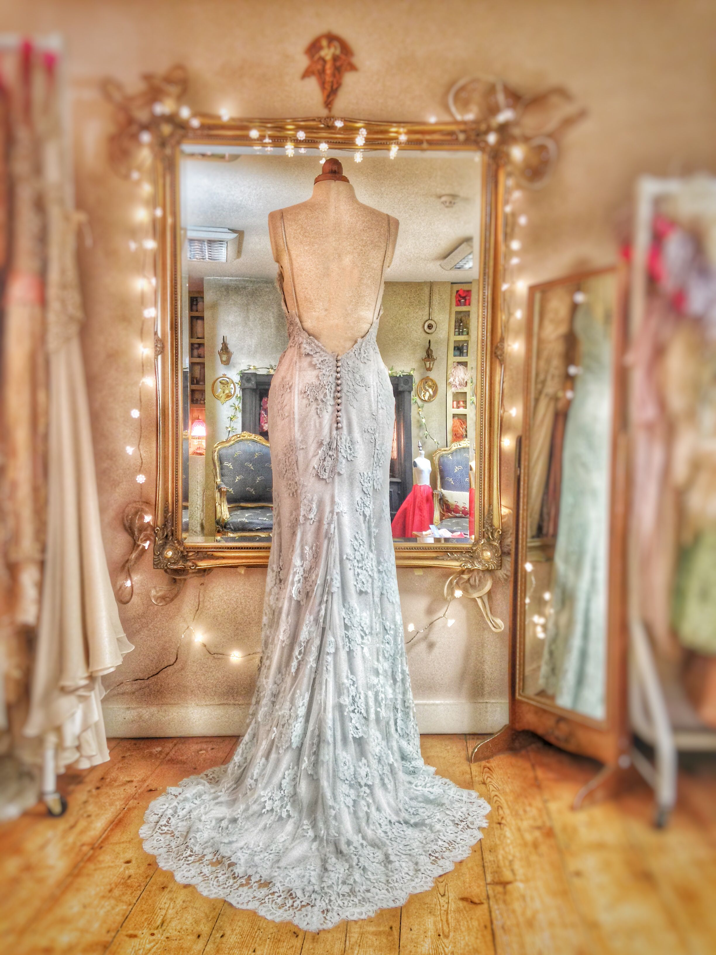 Pale blue custom dyed french lace and silk chiffon wedding dress by