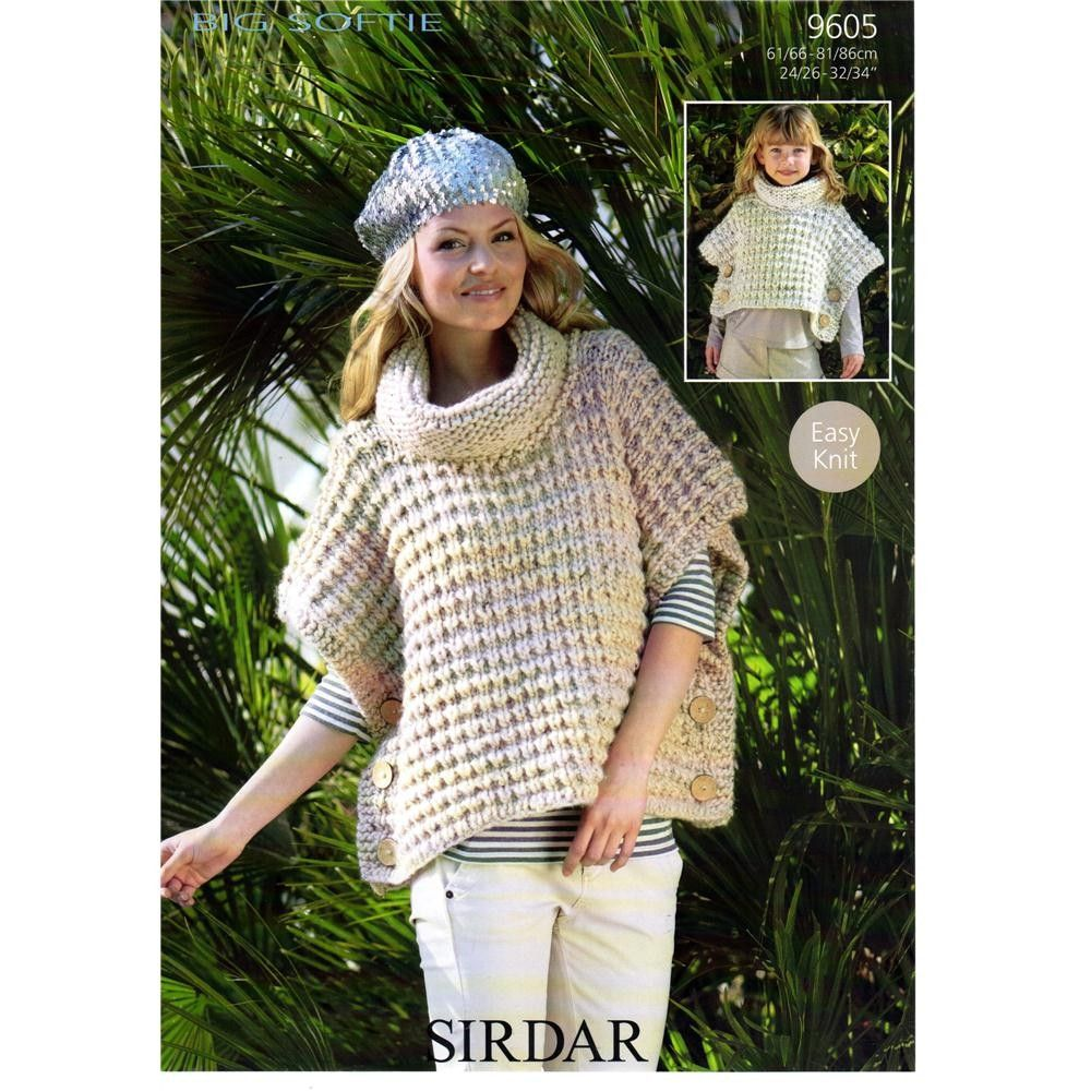 Easy Knit Buttoned Poncho in Sirdar Big Softie - 9605 - Super Chunky ...