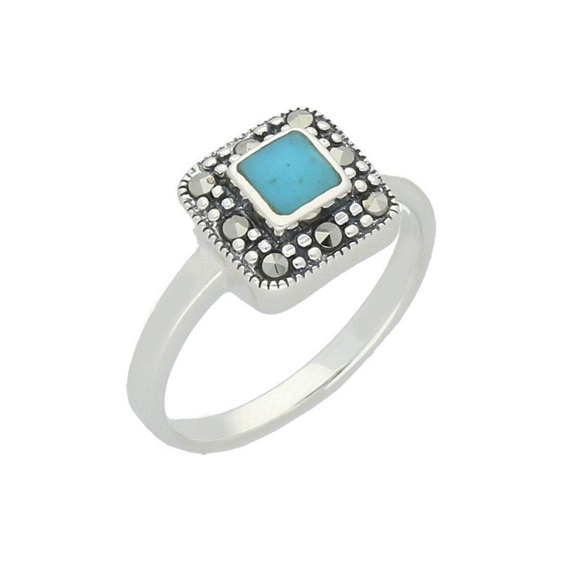 Turquoise Ring Cushion Marcasite And Silver | C W Sellors Fine Jewellery and Luxury Watches