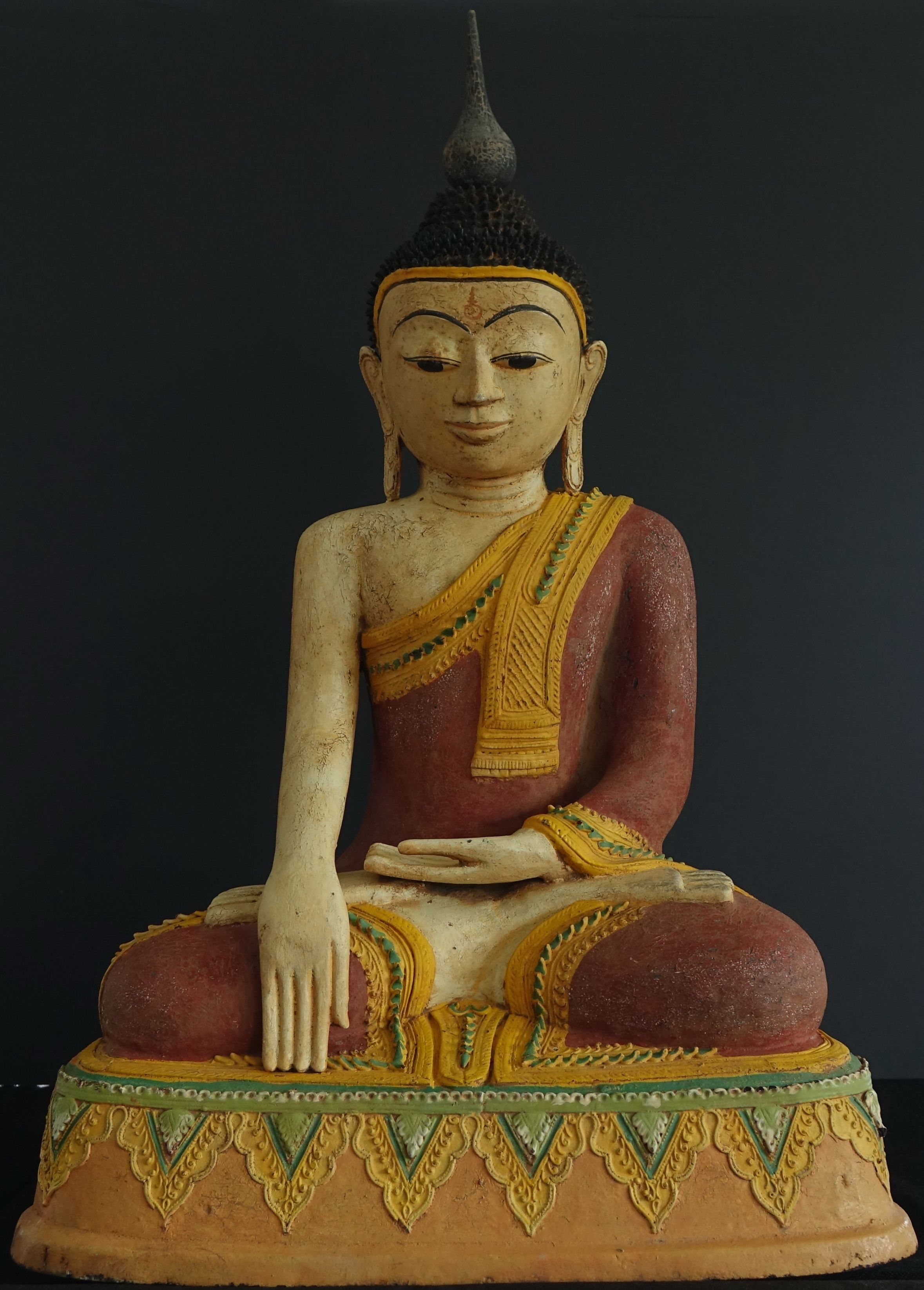 19th Century Burmese Hollow Lacquer Buddha Statue  These colours are