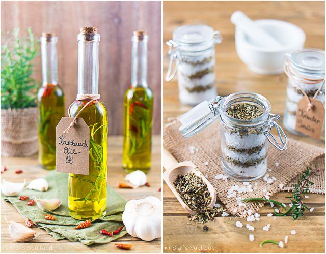 Mitbringsel aus der küche  Geschenke aus der Küche: Knoblauch-Chili-Öl und Kräuter-Salz I ...