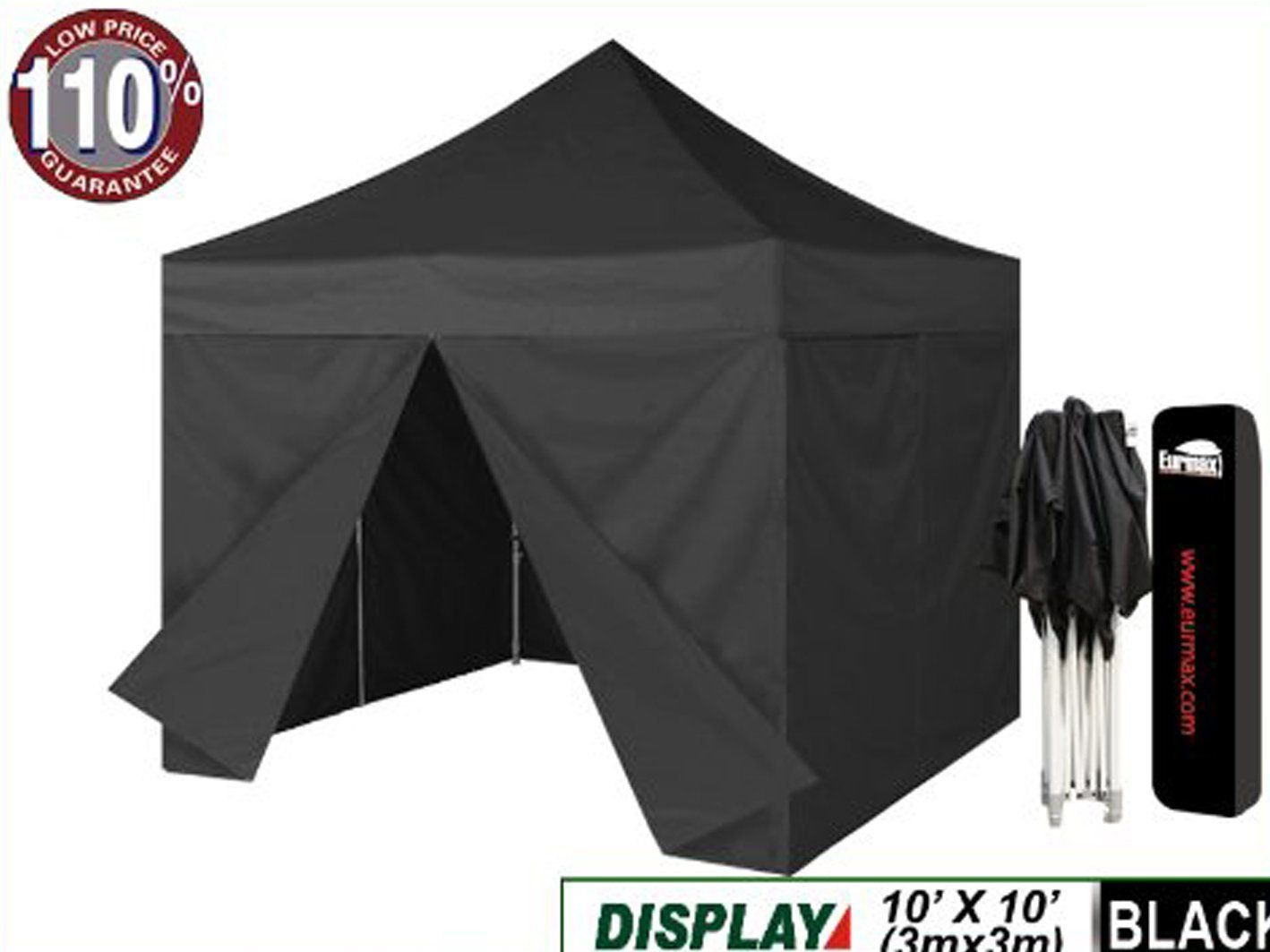 Amazon Com Eurmax 10 X 10 Ez Pop Up Canopy Party Tent Gazebo With 4 Zipper End Sidewalls Walls With Dust Cover Black Canopy Tent Pop Up Canopy Tent Tent