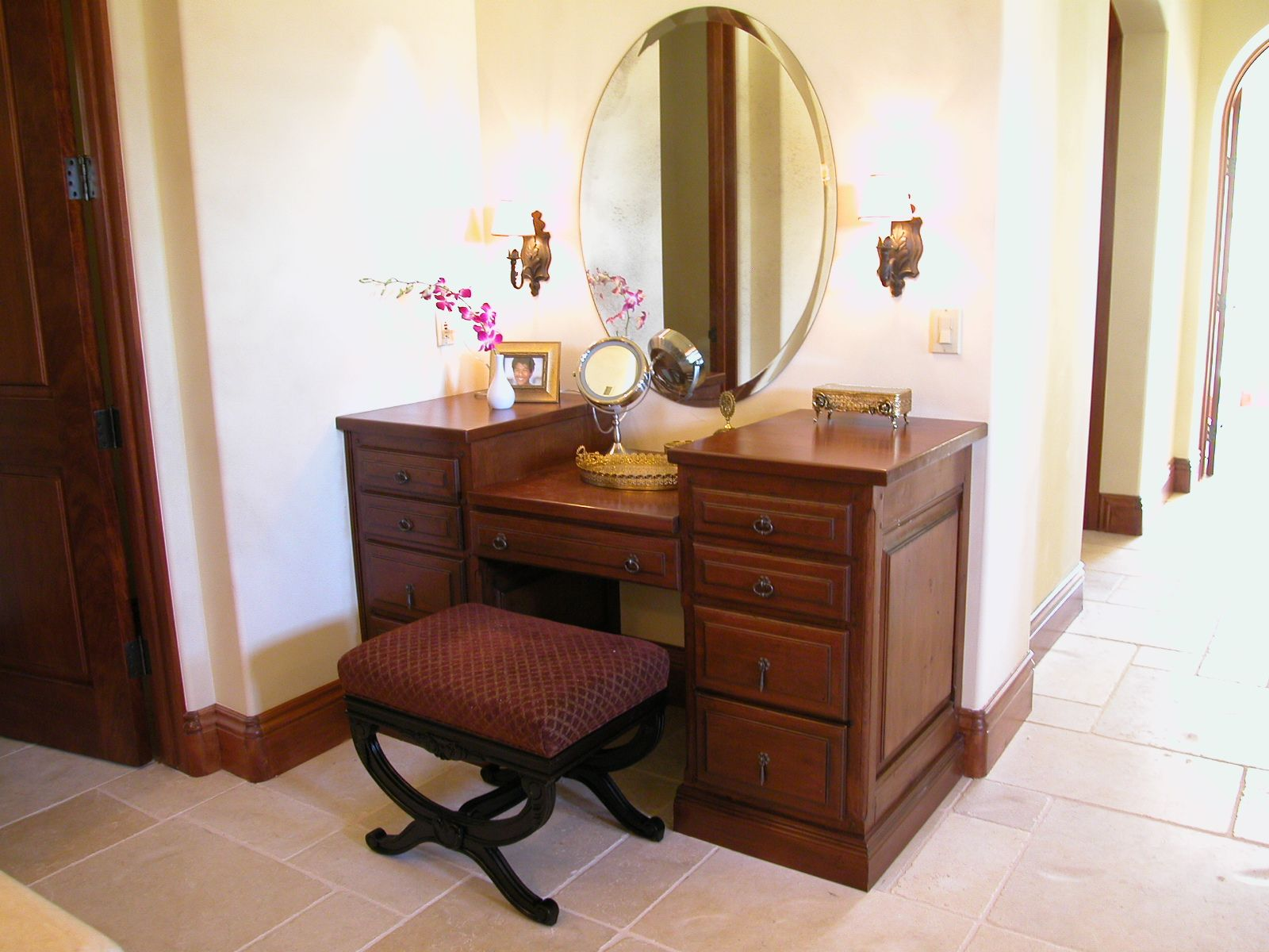Spectacular Brown Wooden Makeup Vanity Double Side Storage