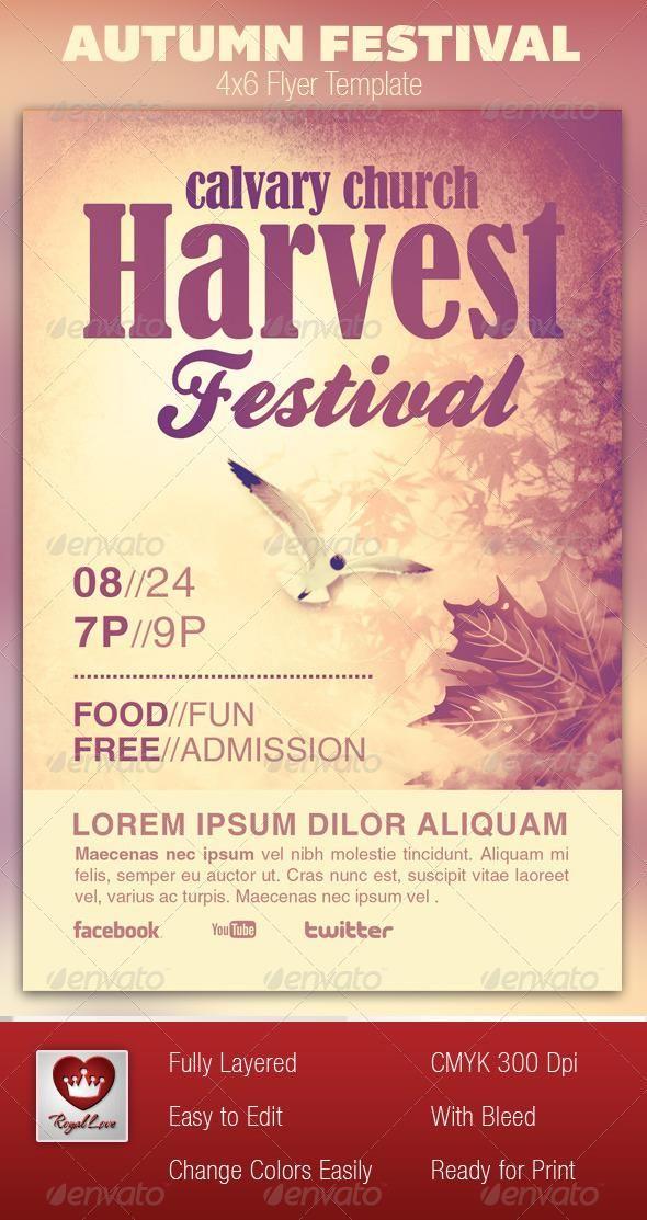 Autumn Festival Church Flyer Template Event Templates Design Resume