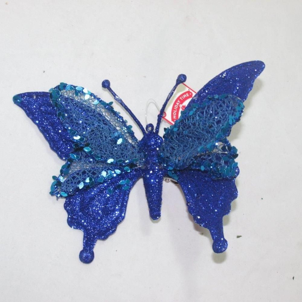 7 Wired Large Royal Blue Glitter Clip On Butterfly Christmas Ornament Blue Glitter Christmas Ornaments Glitter