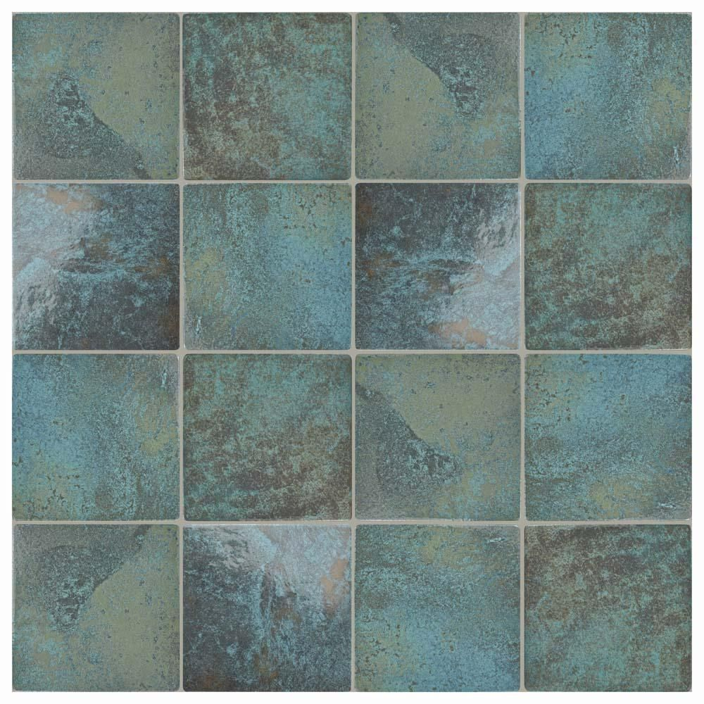 Merola Tile Ocean Green River 6 In X 6 In Porcelain Floor And Wall Tile 7 98 Sq Ft Case Fga6ogr The Home Depot Porcelain Flooring Elitetile Walk In Shower Designs