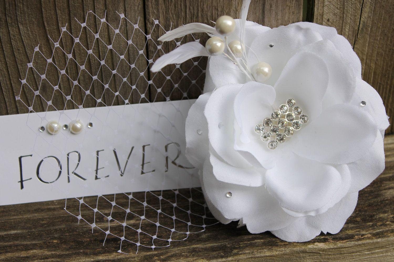 Wedding hair piece -fasinator -white fabric flower - bride