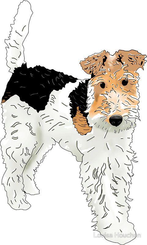 Wire Hair Fox Terrier\' Sticker by Louisa Houchen