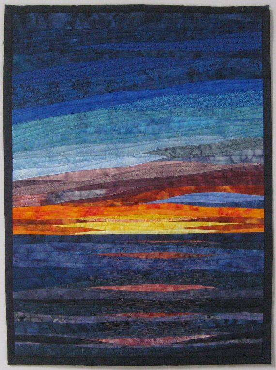 Art Landscape Quilt Sunset 36 Over Water By