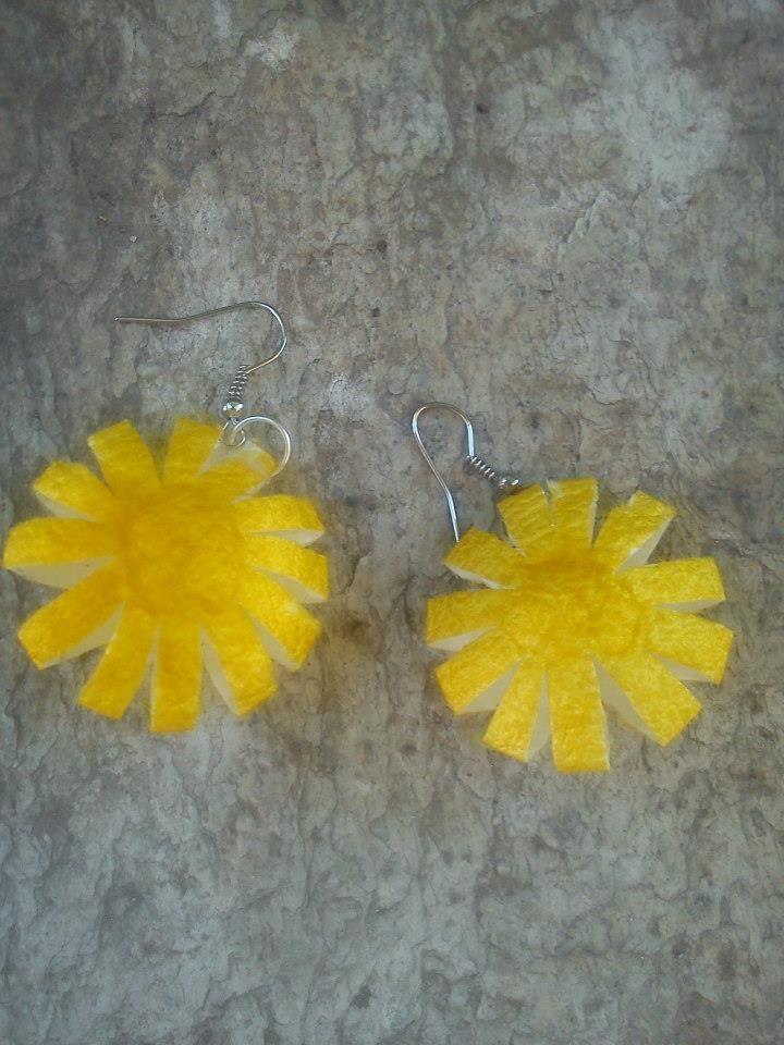 handmade silk cocoons earrings No61