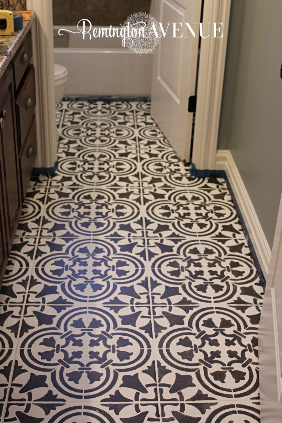 How To Paint Stencil Tile Painting Tile Floors Stenciled Tile