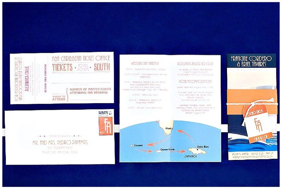 Travel Wedding Invitations Were Inspired From An Old Cruise Ship Brochure Luggage Tag Save The Dates And Tear Off Ticket Rsvp Cards