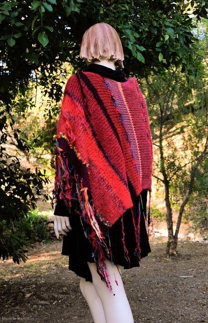Red Knit Poncho Alpaca Mohair Merino Cashmere by MurielleKnitwear - StyleSays
