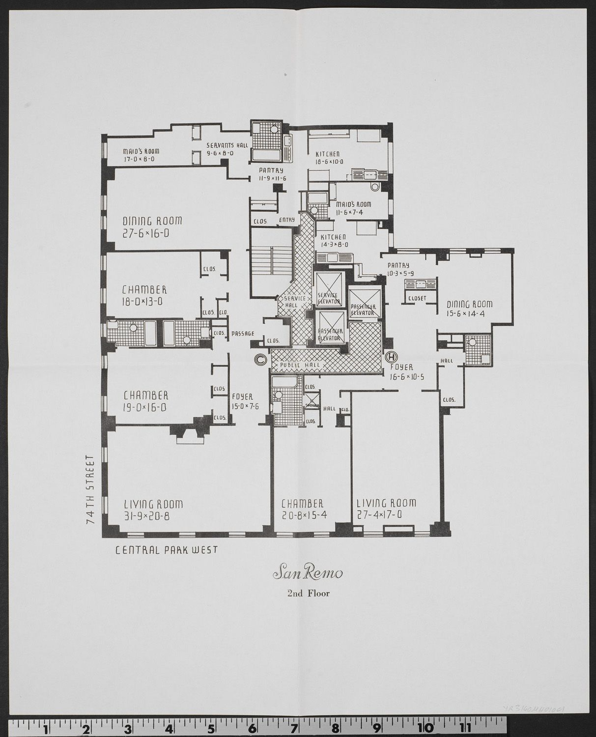 Floor plans for the 1930 San Remo Apartments at 145