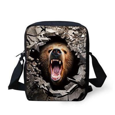 Mini Boys Messenger Bags Cool Animal Tiger Bear Lion Print Men's Crossbody Bag High Children Kids Travel Bag Single Shoulder Bag