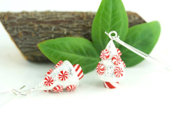 Christmas Earrings Peppermint Candy Swirl Holiday Miniature Tree Folk Whimsical Hostess Nature Novelty Nostalgic Winter Festive Gift Jewelry