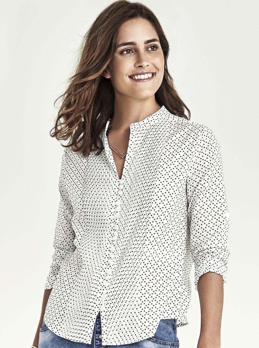 22db7172609d5 Camisa Feminina Em Algodão Estampado Com Detalhe Em Pregas