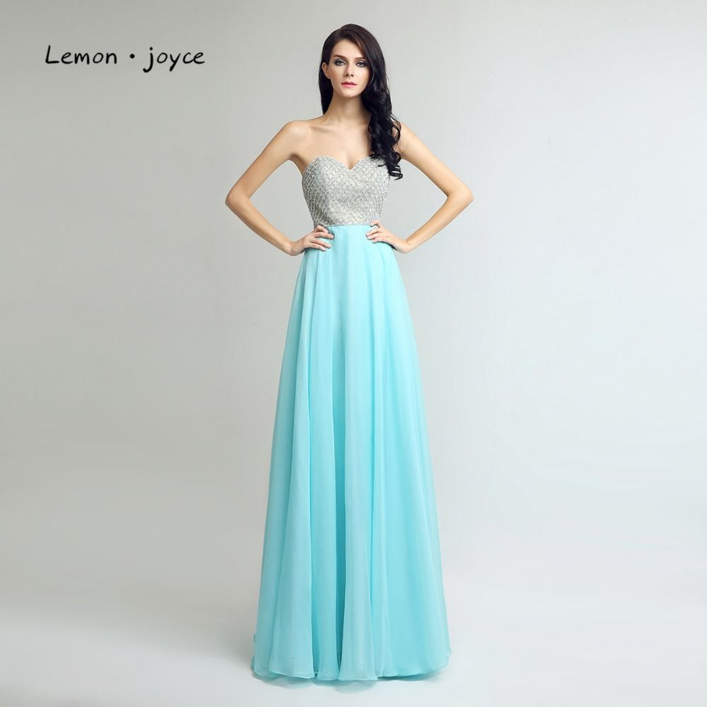 Click to Buy << Lemon joyce Long Prom Dresses 2017 Charming Blue ...