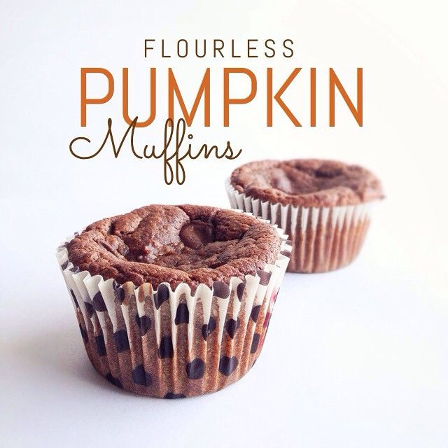 Flourless Pumpkin Muffins RECIPE: 1 c almond butter, 1 1/2 c canned pumpkin, 1/3 c raw honey, 1 egg, 1 tsp vanilla 1 tsp baking soda, 1 tsp cinnamon, 1/2 tsp nutmeg, dark chocolate chips. Combine all ingredients in a bowl and mix well, pour into muffin tins and bake for 35 mins at 350•