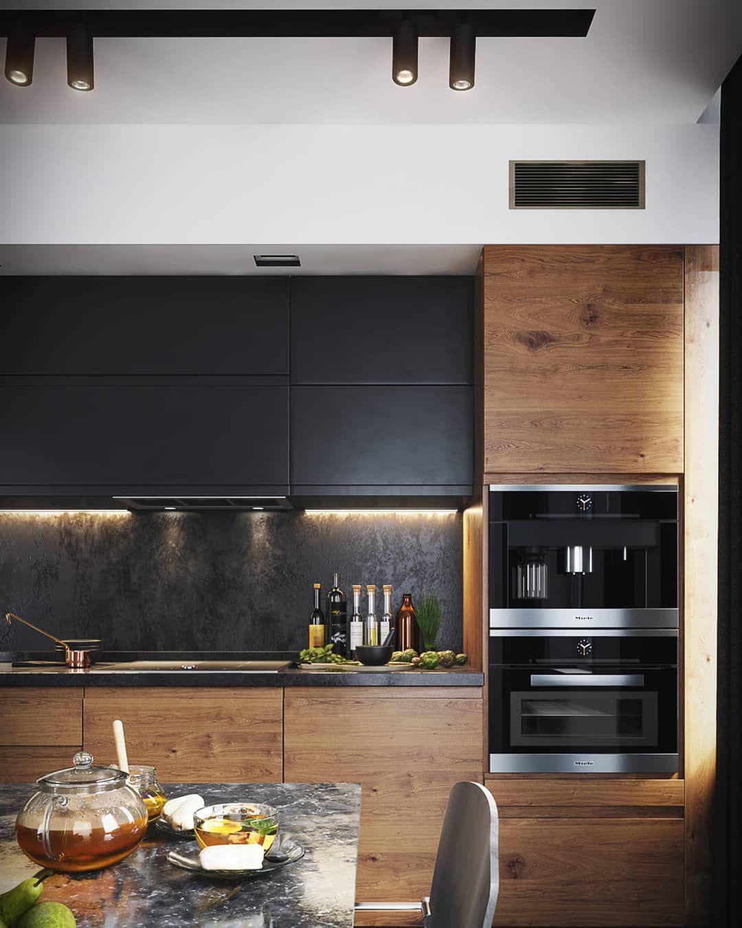 """Design Kitchen Cabinets Free: UnitRenderspace On Instagram: """"Modern Dark Kitchen"""