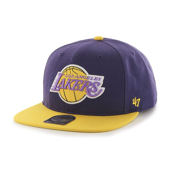 brand new 2d9aa 9a443 Los Angeles Lakers Sure Shot Two Tone Captain Purple 47 Brand Adjustable Hat