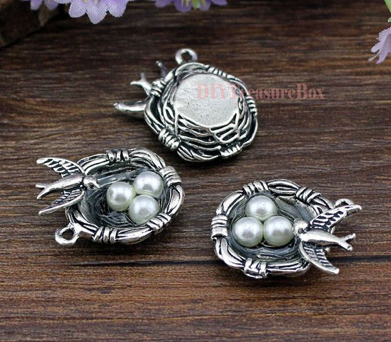 5pcs Bird Nest Charms Silver Tone with 3 Pearl Like Bead Simply Stunning 24x23mm