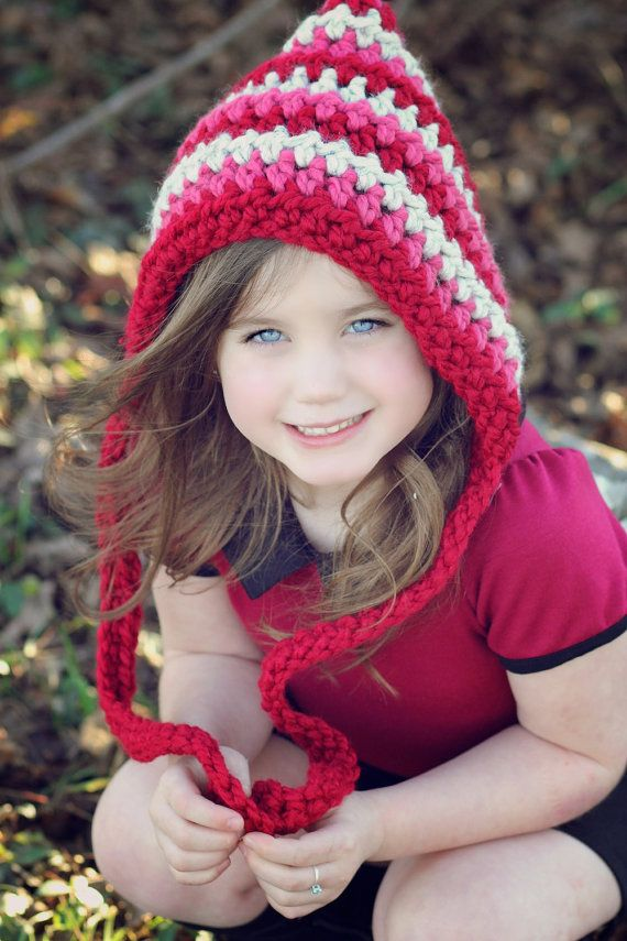 Valentine Hat, Childrens Hat, Crochet Pixie Hat, Striped Hat