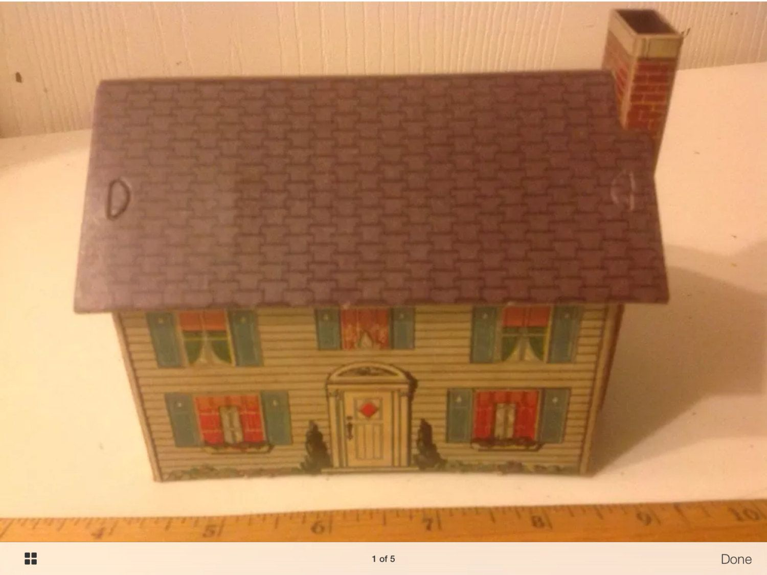 HO Vintage Circa 1940's 2 Story House Built Cardboard Model Train