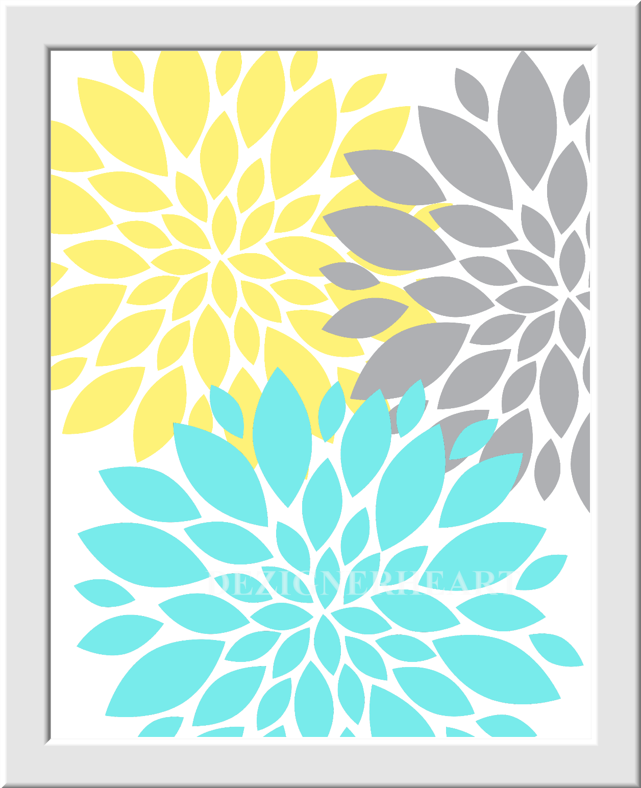 Personalized Baby Nursery Wall Art Gray Yellow Aqua Grey Flower ...