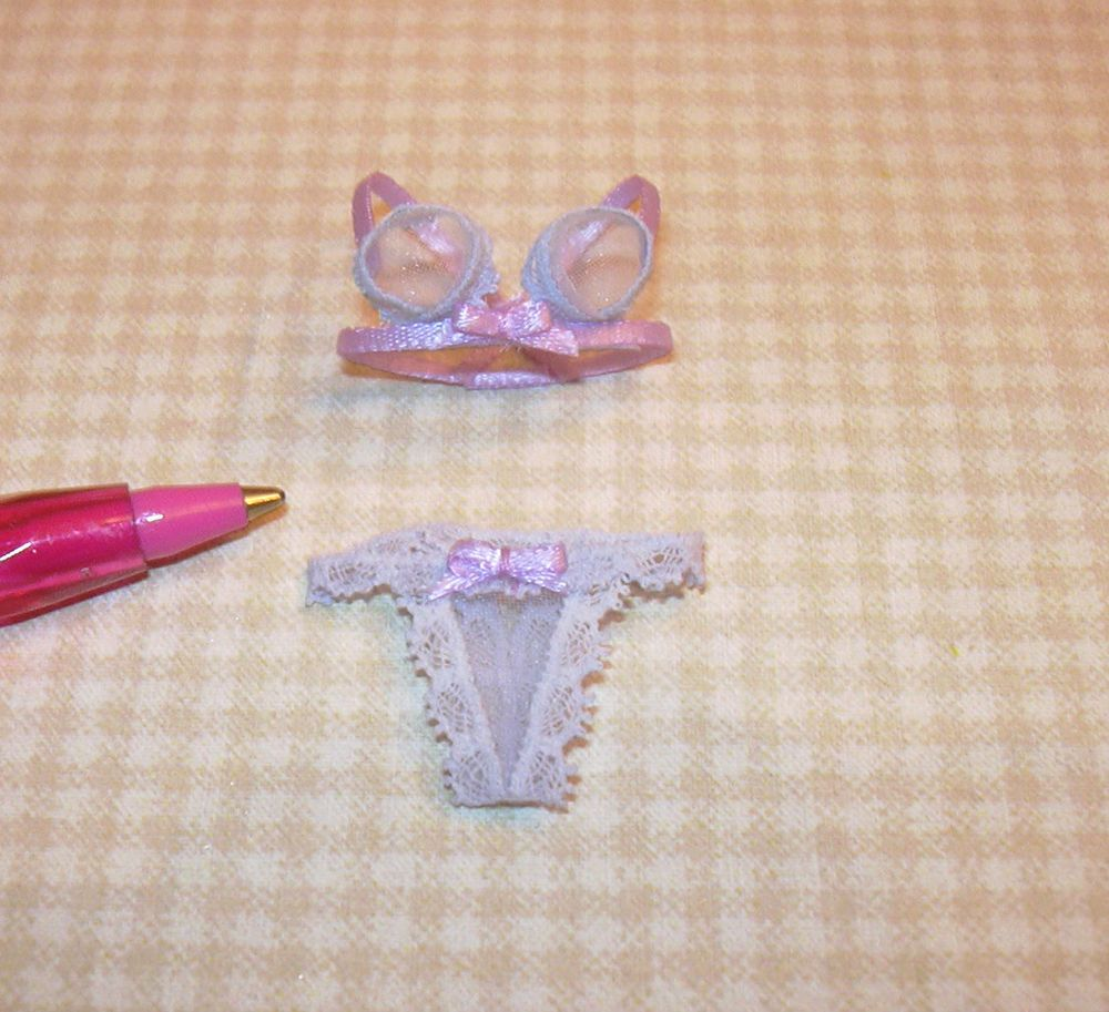 Miniature LILAC Ladies Underthings, THONG Style DOLLHOUSE Miniatures 1/12 Scale