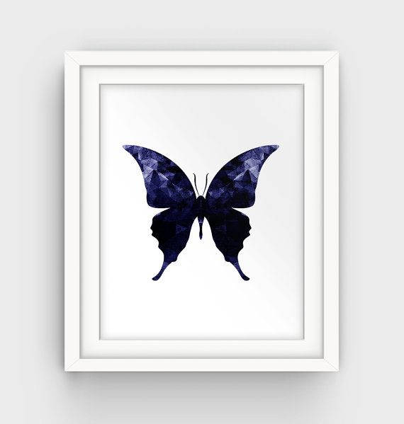 Butterfly Print Navy Blue Wall Art Butterfy Art by GalliniDesign