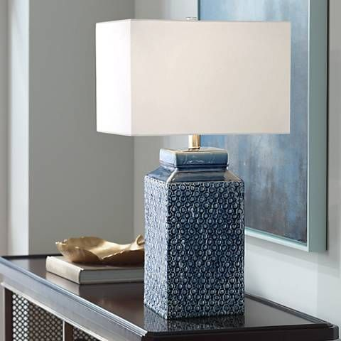 Uttermost Pero Sapphire Blue Textured Ceramic Table Lamp 9w511