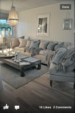 Levels of grey for grown up harmony, glammed up with premium fabrics and a vintage chandelier