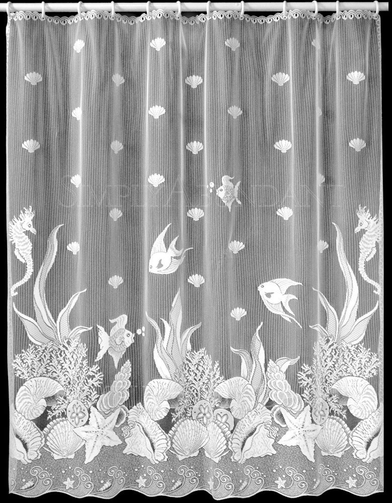 Seascape Shower Curtain By Heritage Lace 72 Inch X 72 Inch Beach