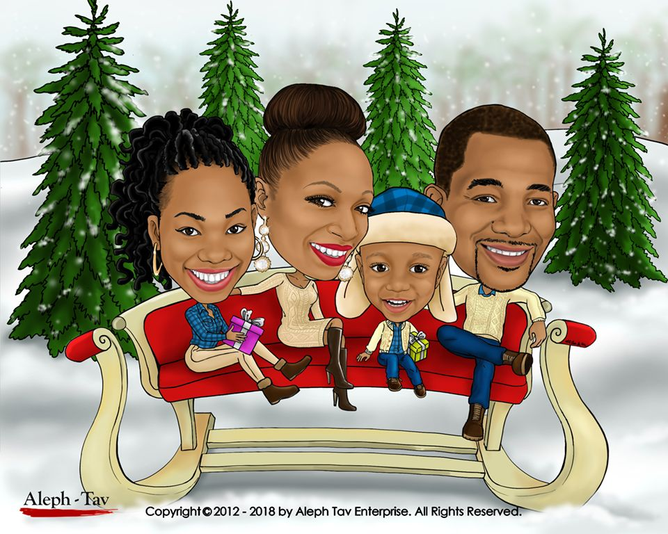 Family Christmas Card More than just caricature, our