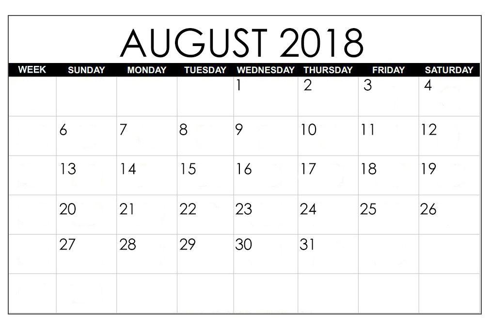 September 2018 Calendar Excel Blank Calendar Template Excel