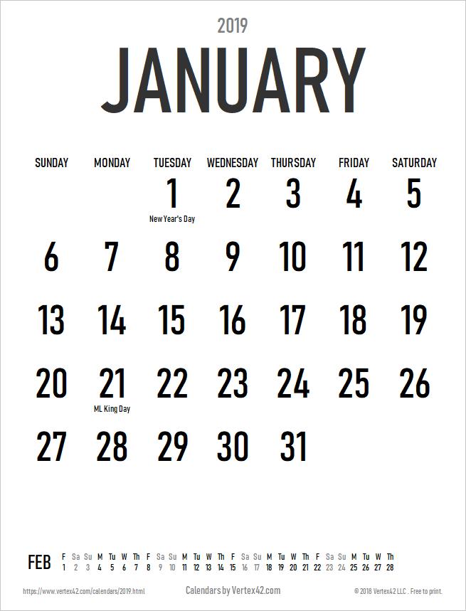 Download The 2019 Large Print Calendar Portrait From Vertex42 Com Calendar Printables Print Calendar Cool Calendars
