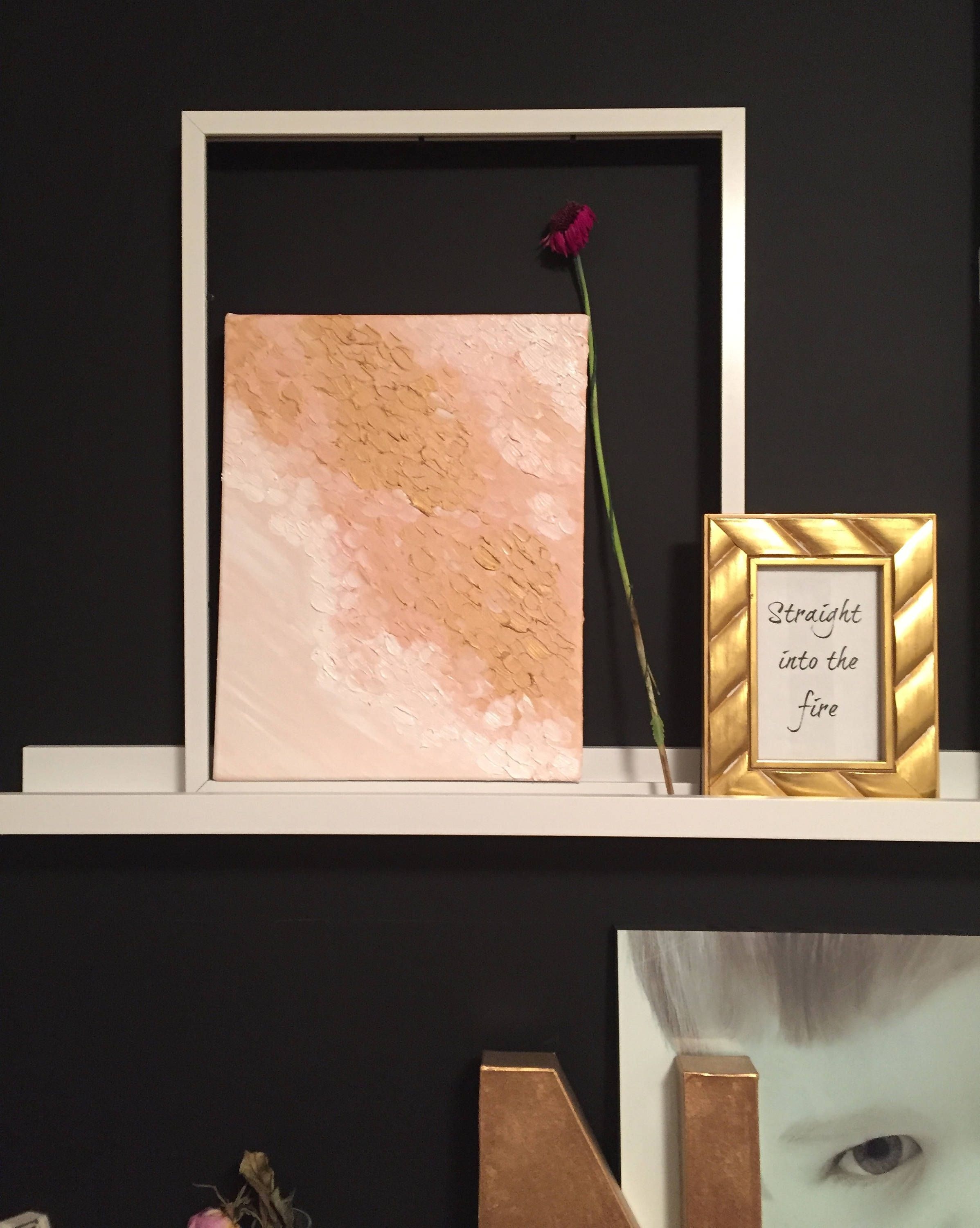Rosegold oil on canvas great for wall art shelf decor for any room